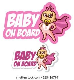 Baby on Board Sticker Set Vector Illustration