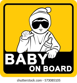 Baby on board. Sticker. Vector