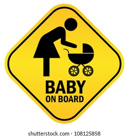 Baby on board yellow diamond sign, vector illustration