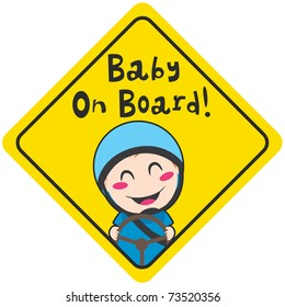 Baby on board yellow diamond warning sign for safe driving with blue helmet