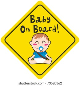 Baby on board yellow diamond warning sign for vehicle safety with seatbelt