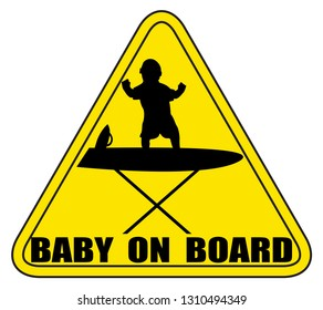 A baby on an ironing board sign silhouette isolated on a white background