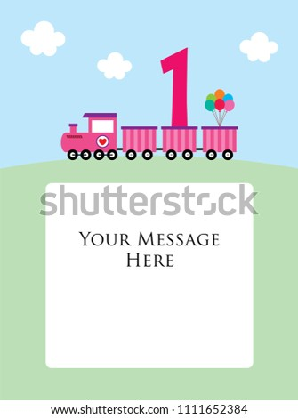Baby One Year Old Birthday Greeting Card With Little Train 1st
