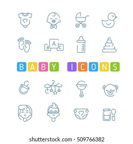 Baby outline icons. Simple kids icons