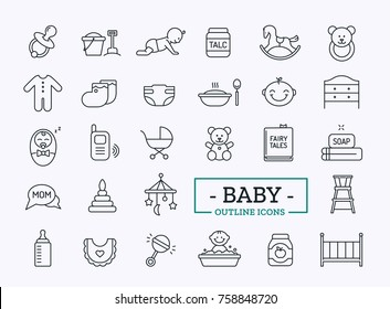 Baby Outline Icons. Vector Thin Line Toys Set. Newborn design.