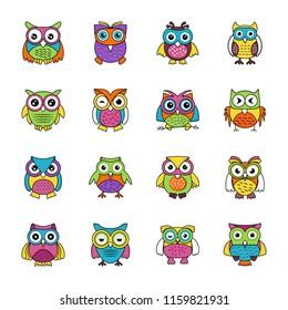 Baby Owl Flat Icons