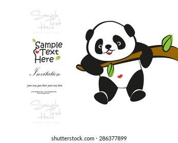 Baby Panda climbing the tree vector design