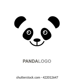 Baby panda face logo template. flat vector illustrations isolate on a white background