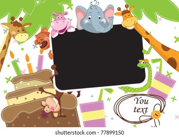 Baby party. Children Frame for baby photo album.  All objects are located on separate layers.