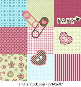 Baby patchwork pattern, vector