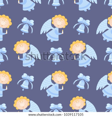 Baby Pattern With Angels And Blue Bells Vector Seamless Violet Background