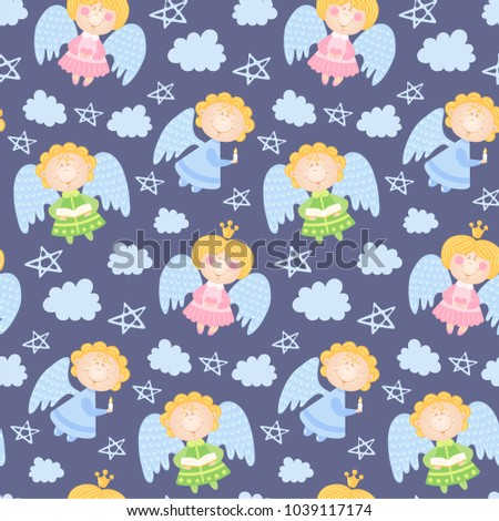 Baby Pattern With Angels Clouds And Stars Vector Violet Seamless Background