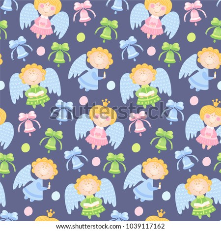 Baby Pattern With Angels And Colorful Bells Vector Seamless Background