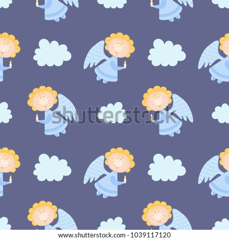 Baby Pattern With Angels Vector Seamless Violet Background