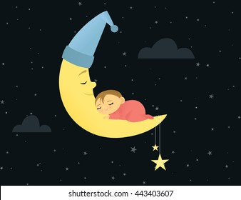 Baby peacefully sleeping on a crescent moon