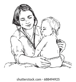 Baby and pediatrician, listening with stethoscope, hand drawn doodle, sketch in pop art style, black and white vector illustration