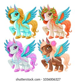 Baby pegasus for freedom and magic. Cartoon vector isolated characters.