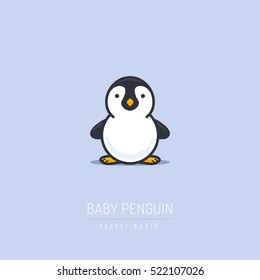 Baby penguin illustration in flat linework style