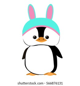 Baby Penguin. Vector flat illustration for print. Cartoons penguin
