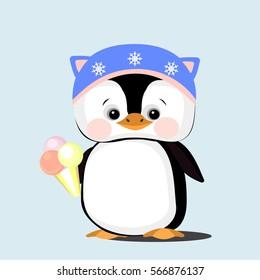 Baby Penguin. Vector flat illustration for print. Cartoons penguin.