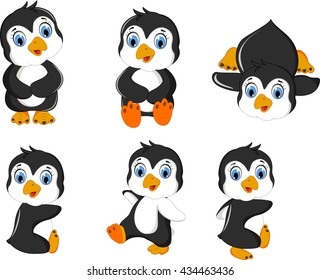 baby penguins cartoon set character