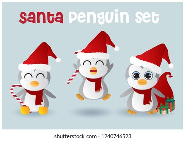 "Baby penguins wear Santa hat and red scarf acting with a gift boxes, Santa bag with ""Santa penguin set"" wording on blue background."
