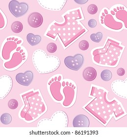 baby pink seamless pattern with patches and buttons