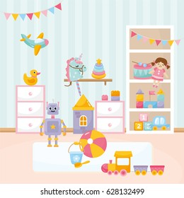Baby playing room. Cozy kids interior with cute toys and furniture. Funny robot, little unicorn, ball, toy car, doll, aircraft.