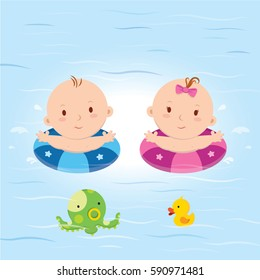 Baby in the pool. Vector illustration of baby boy and girl swimming in the pool.