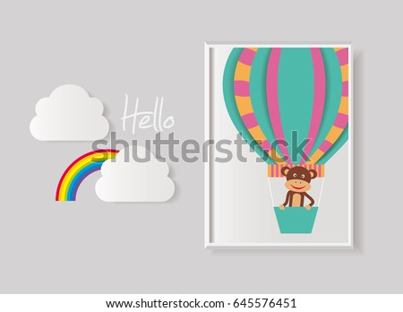 Baby Poster Paper Art Style Air Stock Vector Royalty Free