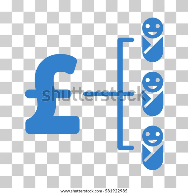 Baby Pound Budget vector pictogram. Illustration style is a flat iconic cobalt symbol on a transparent background.
