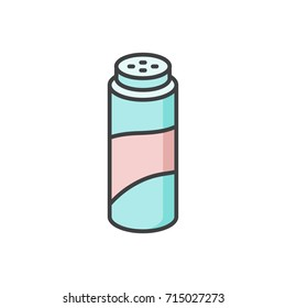 Baby powder talcum colored flat line icon.