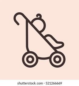 Baby Pram Carriage Minimalistic Flat Line Circle Solid Stroke Icon Pictogram Symbol
