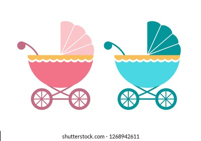 Baby pram icon. Stroller in blue and pink color for boy and girl. Vector illustration in cartoon style. Colorful concept of baby carriage.