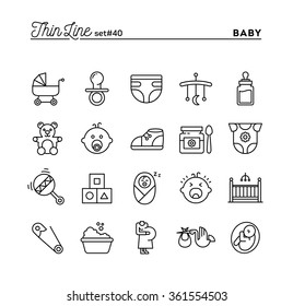 Baby, pregnancy, birth, toys and more, thin line icons set, vector illustration