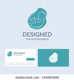 Baby, pregnancy, pregnant, obstetrics, fetus Business Logo Glyph Icon Symbol for your business. Turquoise Business Cards with Brand logo template.