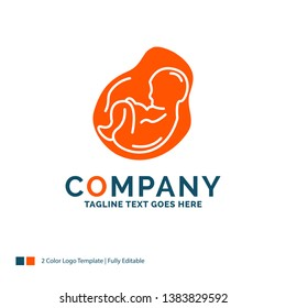 Baby, pregnancy, pregnant, obstetrics, fetus Logo Design. Blue and Orange Brand Name Design. Place for Tagline. Business Logo template.
