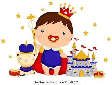 Baby Prince with Bear and Castle