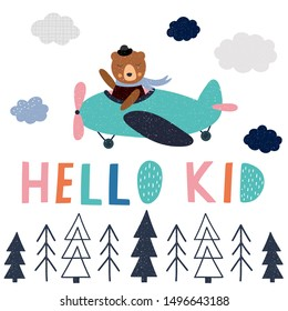Baby print with animal pilot flies on airplane. Childish vector illustration for poster, card, label, banner, flyer, baby wear, kid's room decoration. Scandinavian style.