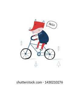 Baby print card: Fox on a bicycle. Hand drawn graphic for typography poster, card, label, flyer, banner, baby wear, nursery.  Scandinavian style. Black, red and blue. Vector illustration
