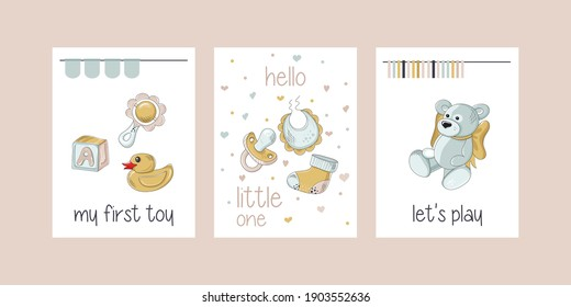 Baby print collection. Milestone cards set for newborn. Childish card or poster. Ideal for kids room decoration, clothing, prints, anniversary. All objects are separated. Vector illustration.