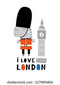 Baby print with Dino: I love London. Hand drawn graphic for typography poster, card, label, flyer, page, banner, baby wear, nursery.  Scandinavian style. Vector illustration