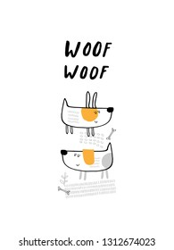 Baby print with dogs: woof woof. Hand drawn graphic for typography poster, card, label, brochure, flyer, page, banner, baby wear, nursery.  Scandinavian style. Black, yellow. Vector illustration