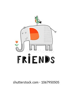 Baby print with elephant and bird: Friends. Hand drawn graphic for poster, card, label, flyer, page, banner, baby wear, nursery.  Scandinavian style. Black, orange and green. Vector illustration