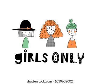 Baby print: Girls only. Hand drawn graphic for typography poster, card, label, brochure, flyer, page, banner, baby wear, nursery.  Scandinavian style. Black, orange and green. Vector illustration