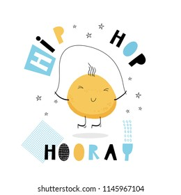 Baby print: Hip hop hooray. Hand drawn graphic for typography poster, card, label, banner, baby wear, nursery.  Vector illustration in blue and yellow