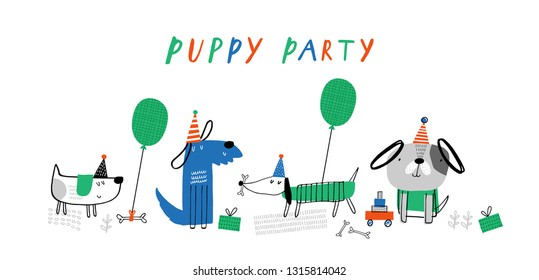 Baby print with puppy: Puppy party. Hand drawn graphic for typography poster, card, label, brochure, banner, baby wear, nursery.  Scandinavian style. Green, red, blue. Vector illustration