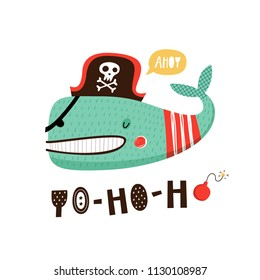 Baby print with whale: Yo-ho-ho. Hand drawn graphic for poster, card, label, flyer, page, banner, baby wear, nursery.  Vector illustration