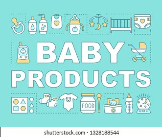 Baby products concepts banner. Presentation, website. Feeding bottle, kids toiletry, radio nanny. Childcare. Isolated lettering typography idea with linear icons. Vector outline illustration