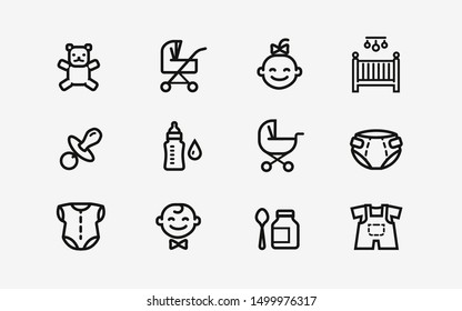 Baby products icon set. Childhood, child symbol. Vector illustration